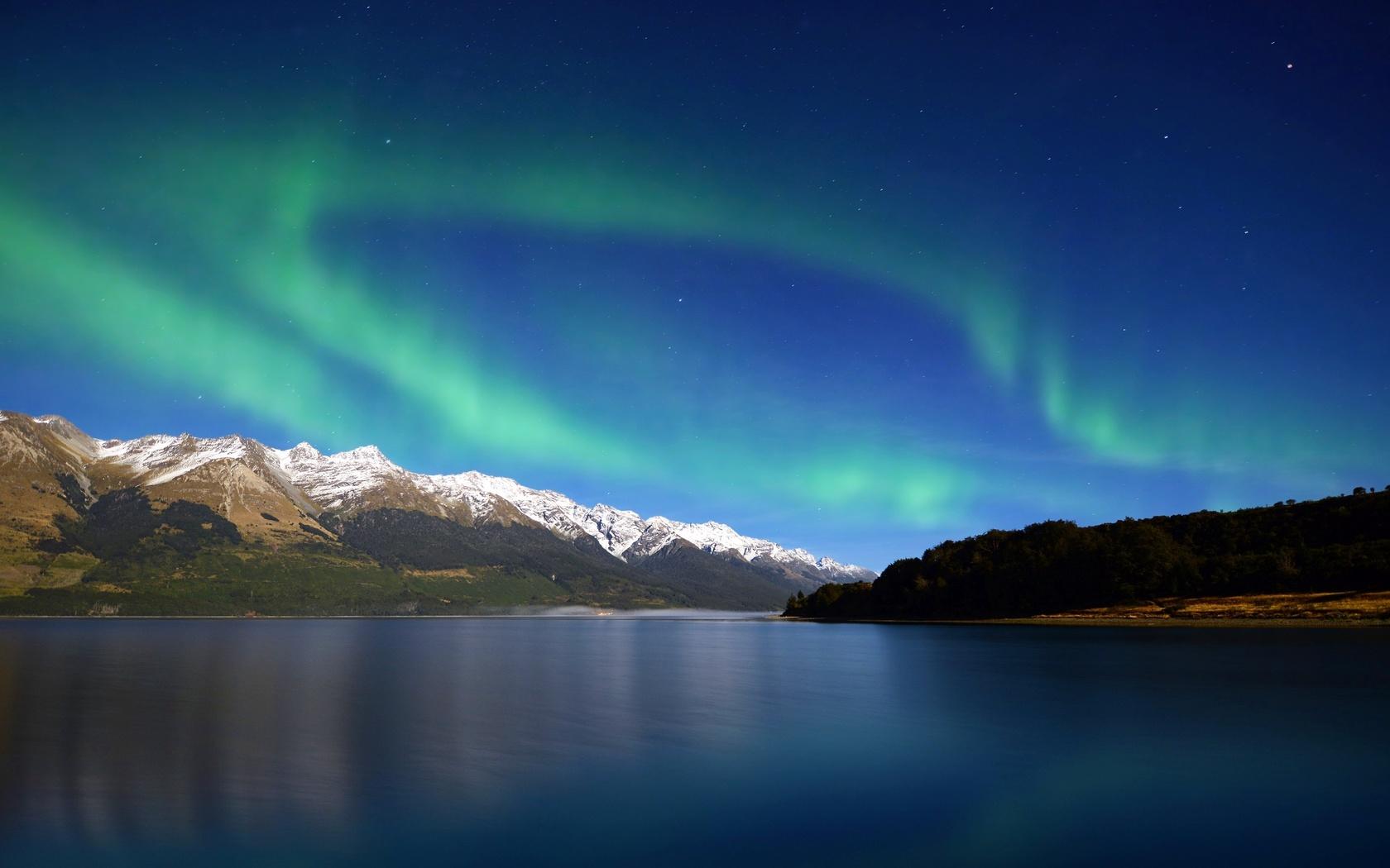 северное сияние, аврора, зеленый, озеро, живописное, небо, ночь