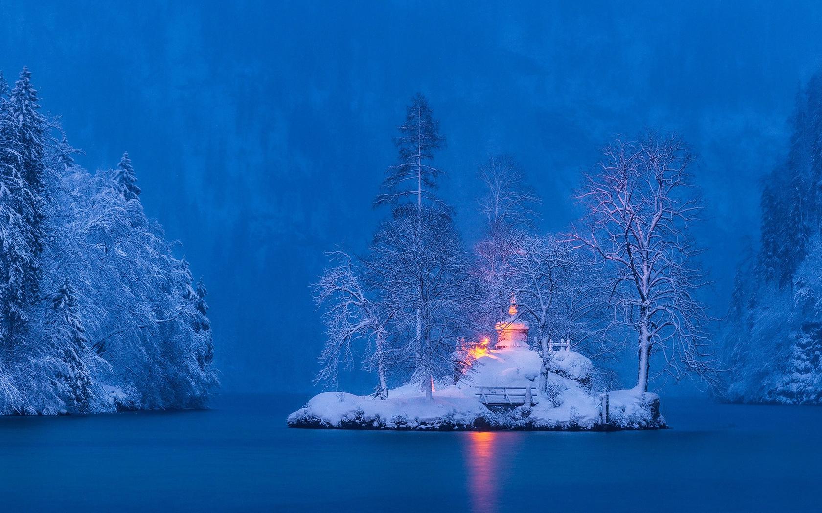 зима, снег, деревья, пейзаж, природа, озеро, германия, бавария, островок, кёнигсзе, maciej bartnicki