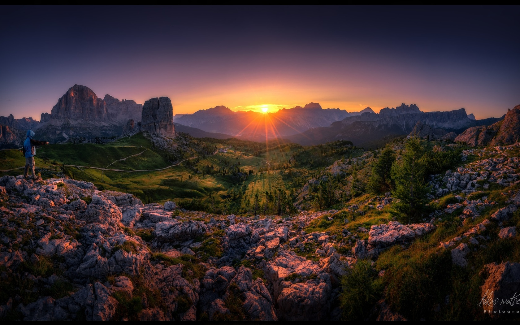 скалы, заходо солнца, by lukas watschinger обои для рабочего стола