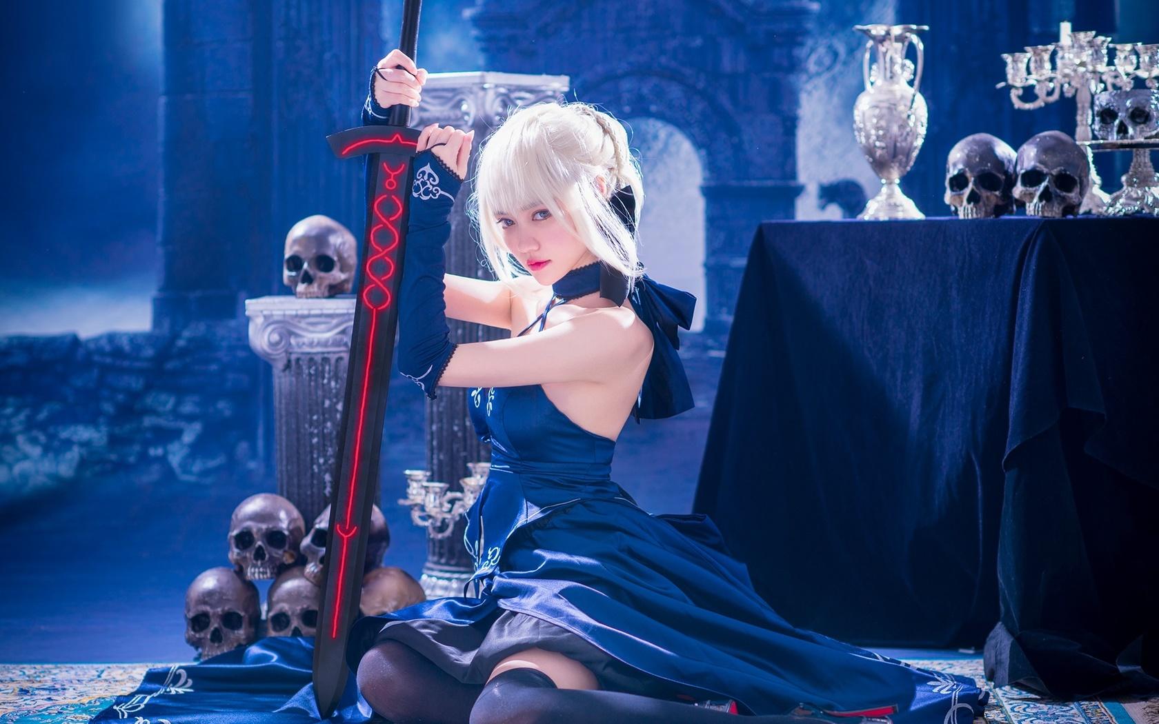 синий, замок, меч, чулки, фэнтези, черепа