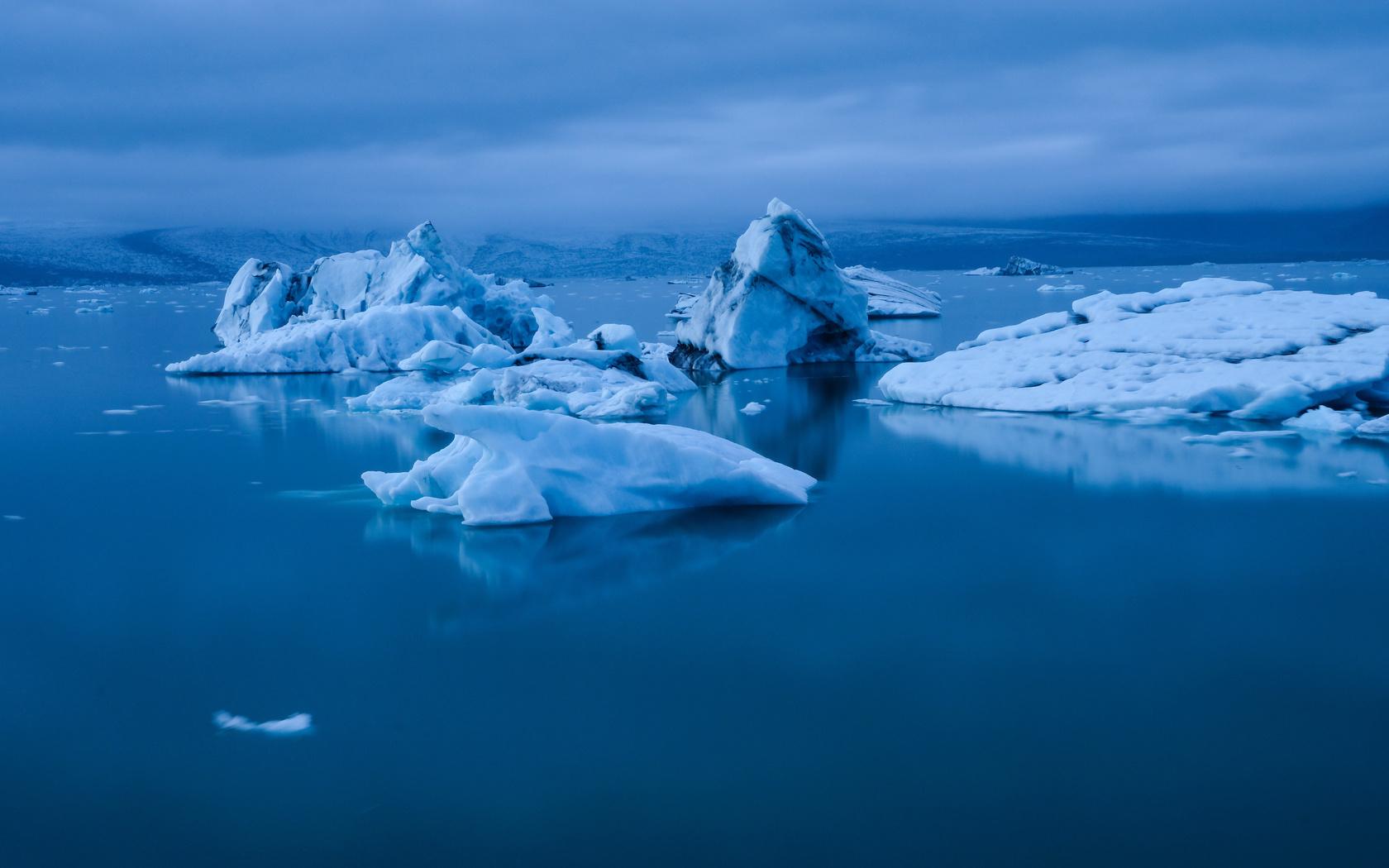 айсберг, льдины, лед, вода, снег