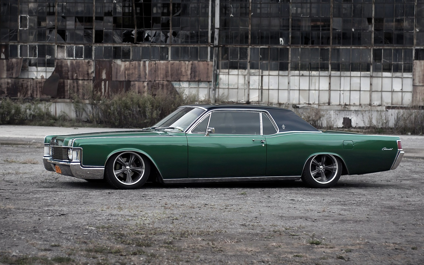 lincoln continental, tuning, stance, american cars, retro cars, green