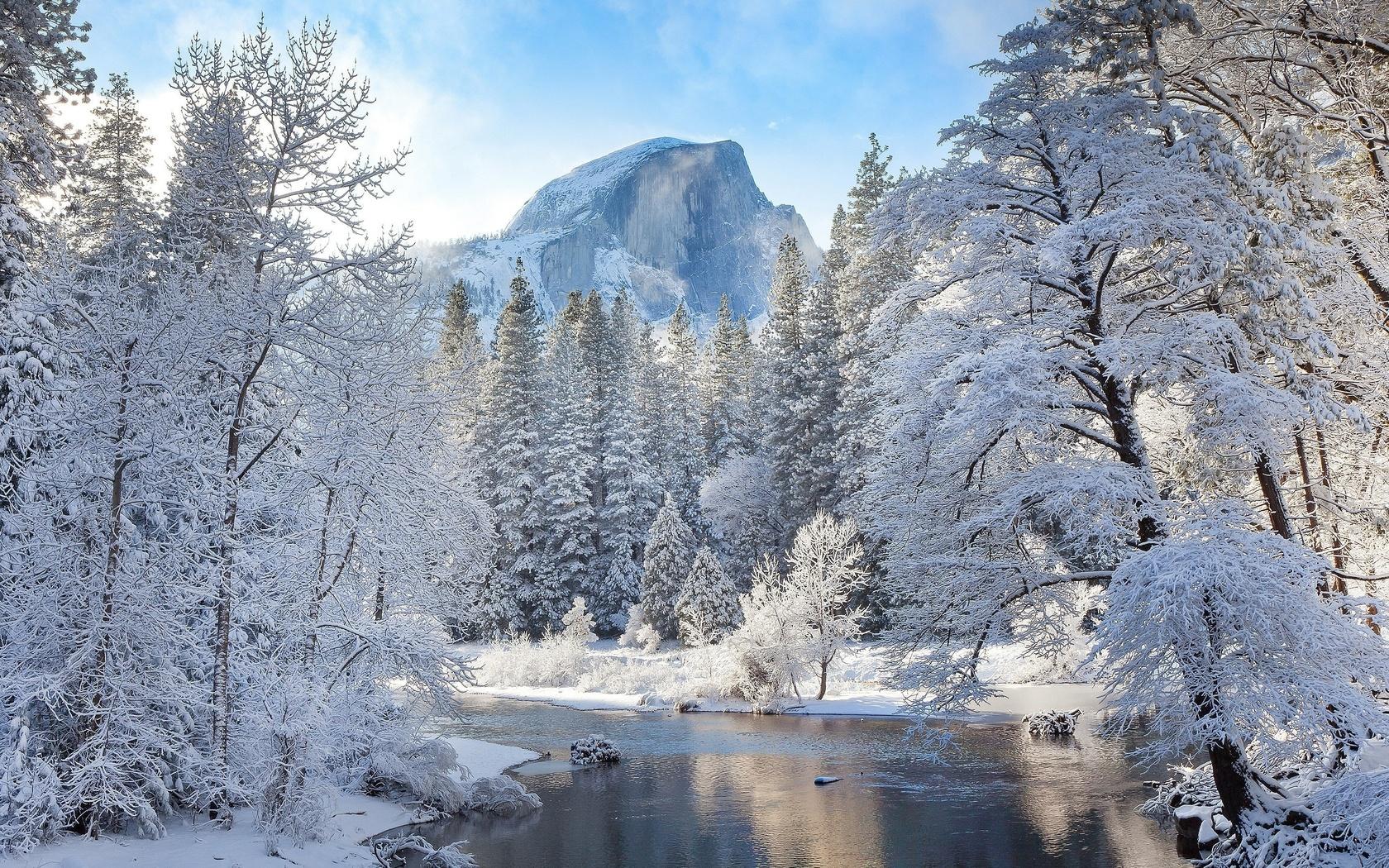 зима, снег, природа, гора, вершина