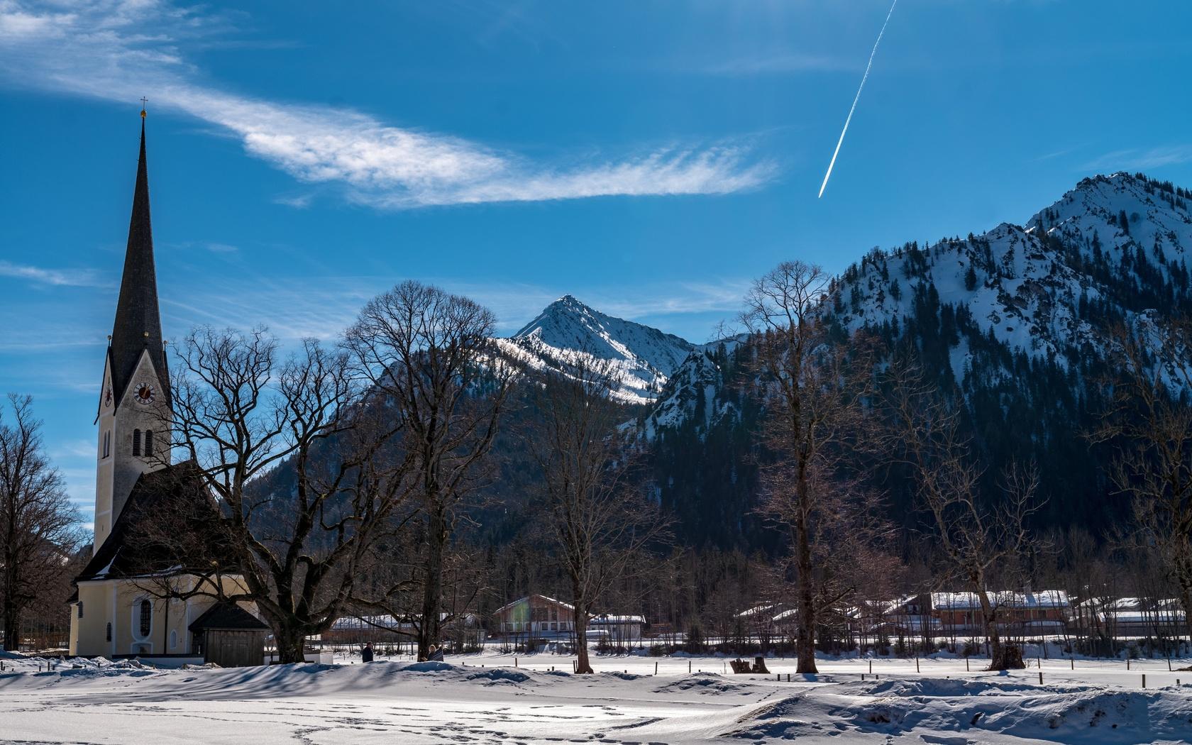 небо, горы, церковь, деревья, зима