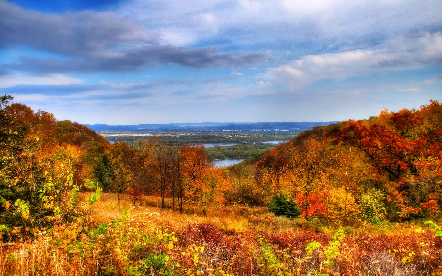 небо, осень, холмы, природа