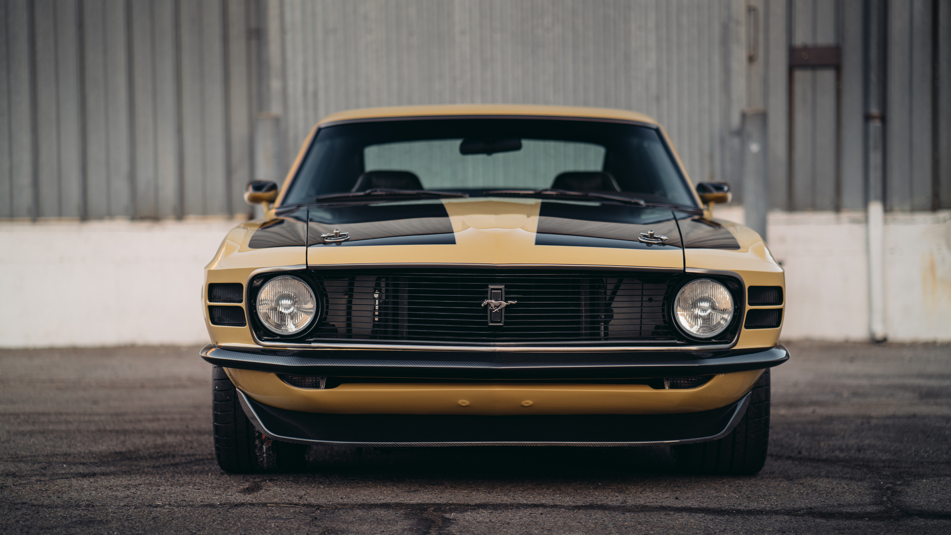 speedkore, rdj, boss, 302, ford, mustang, golden, вид спереди