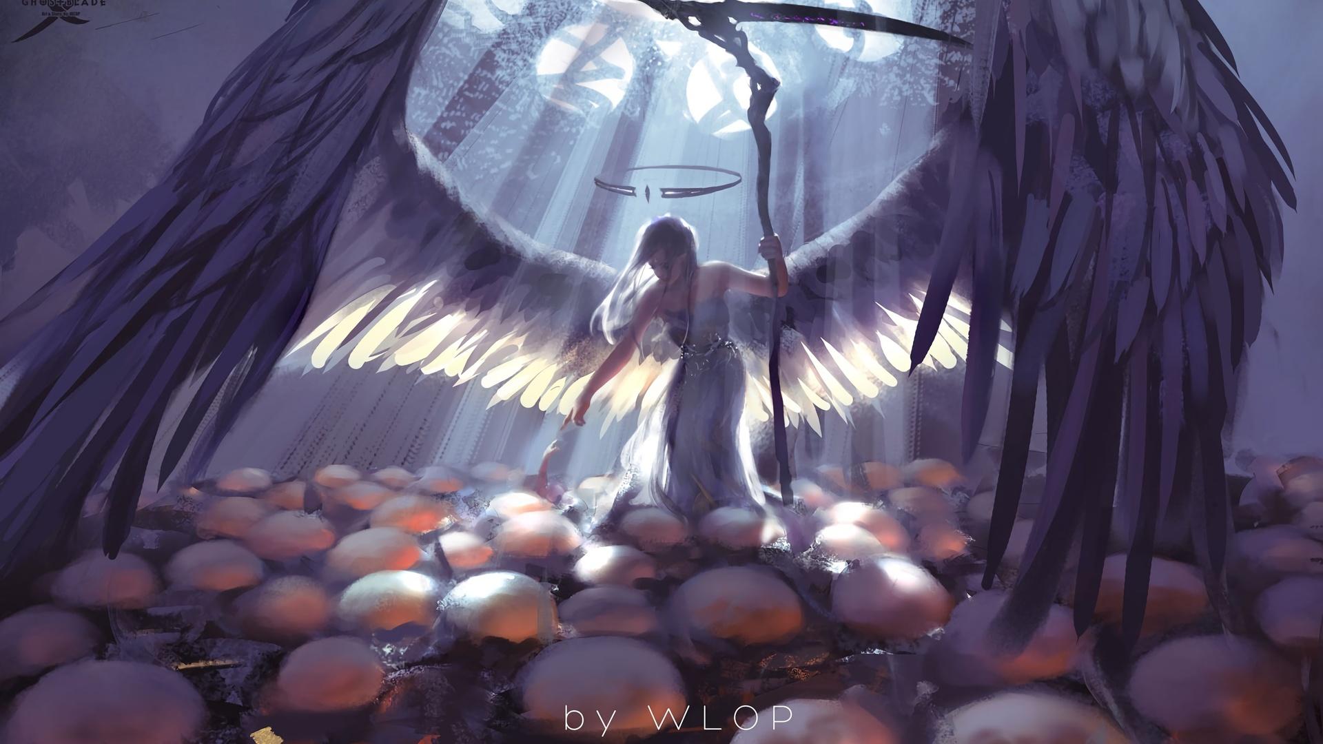wlop, wang ling, девушка, коса, крылья