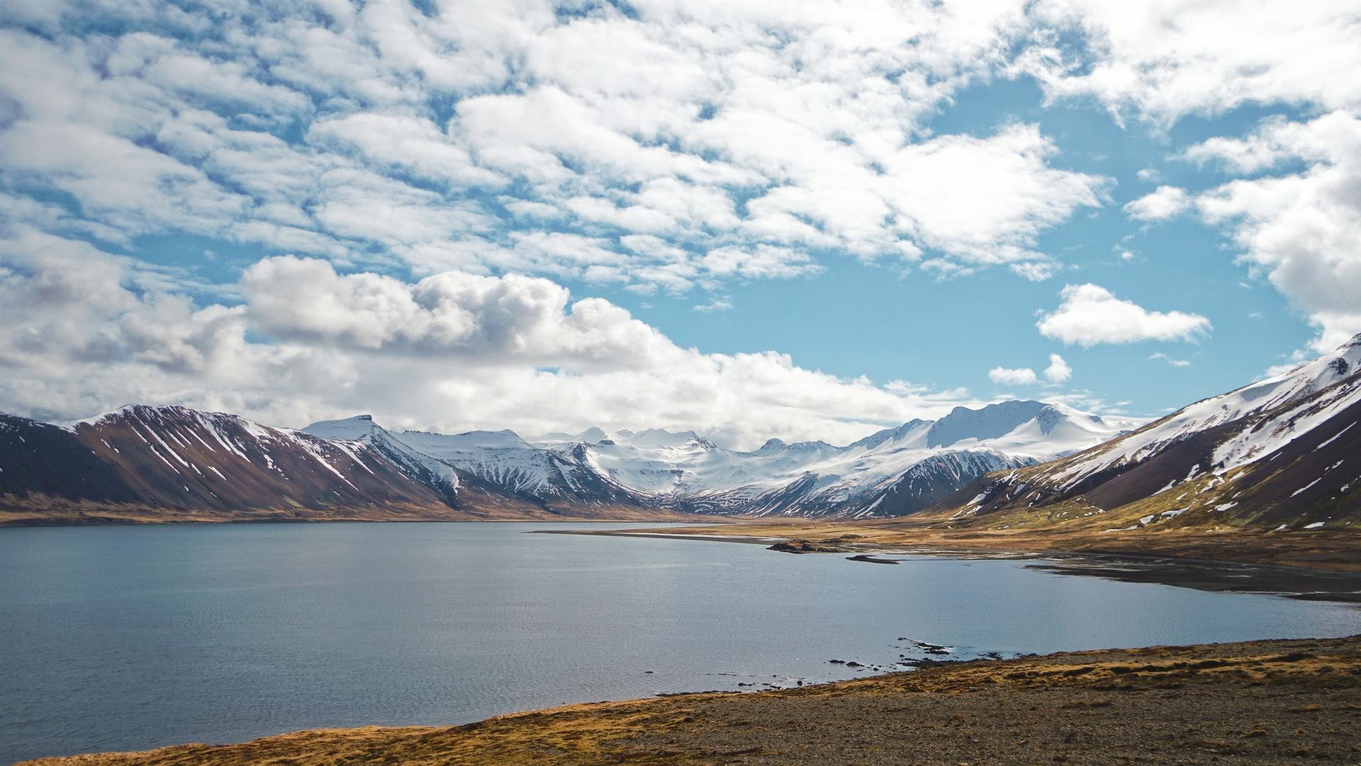 горы, озеро, облака, природа, пейзаж, небо, снег
