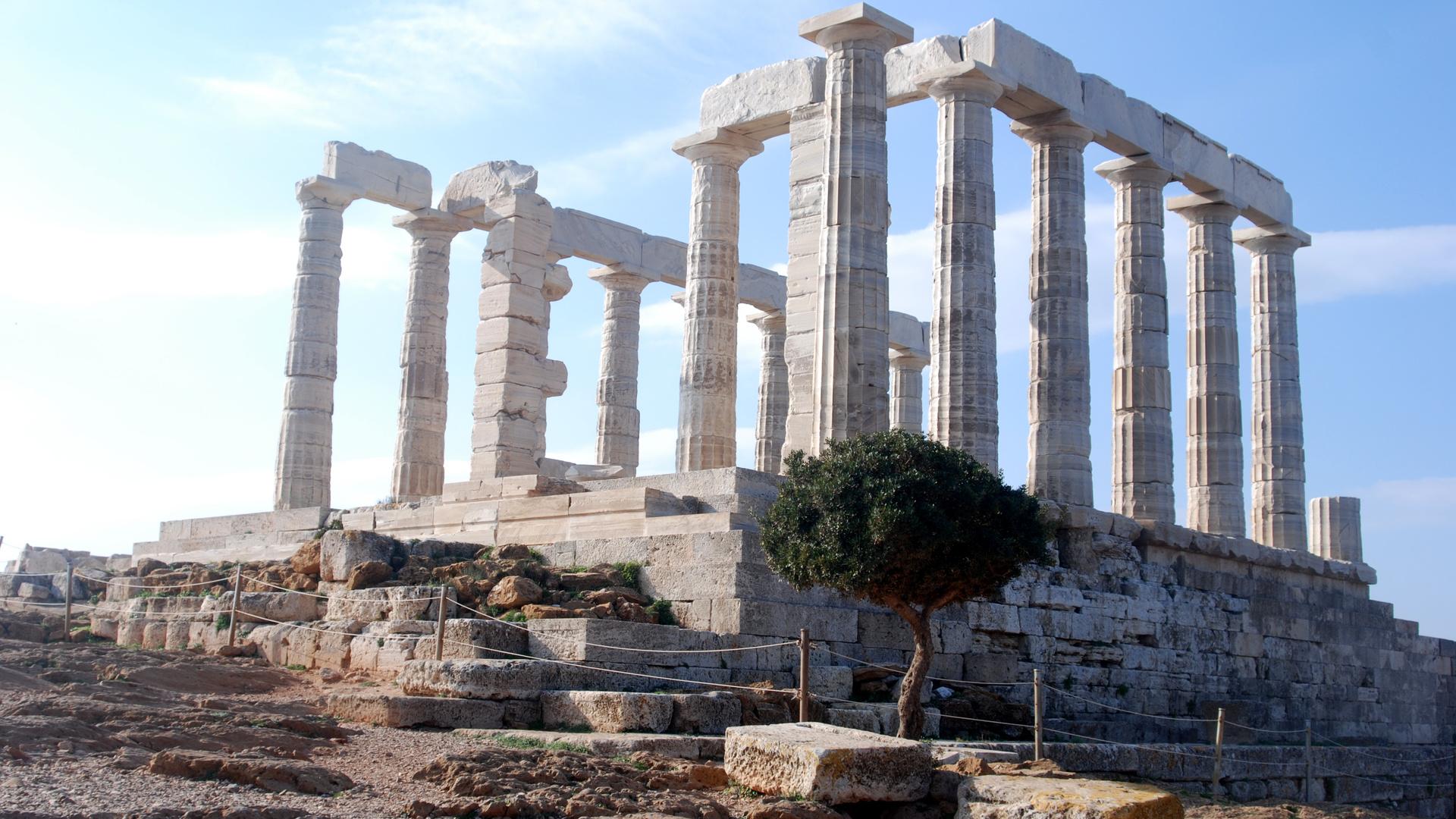 афины, греция, столб, крушение, камень, храм, храм посейдона