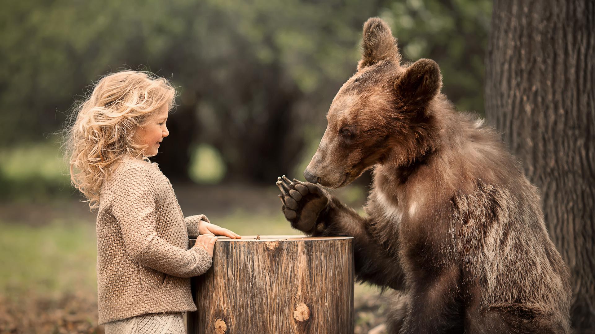 природа, животное, пень, хищник, медведь, девочка, кудри, ребёнок, локоны, марианна смолина