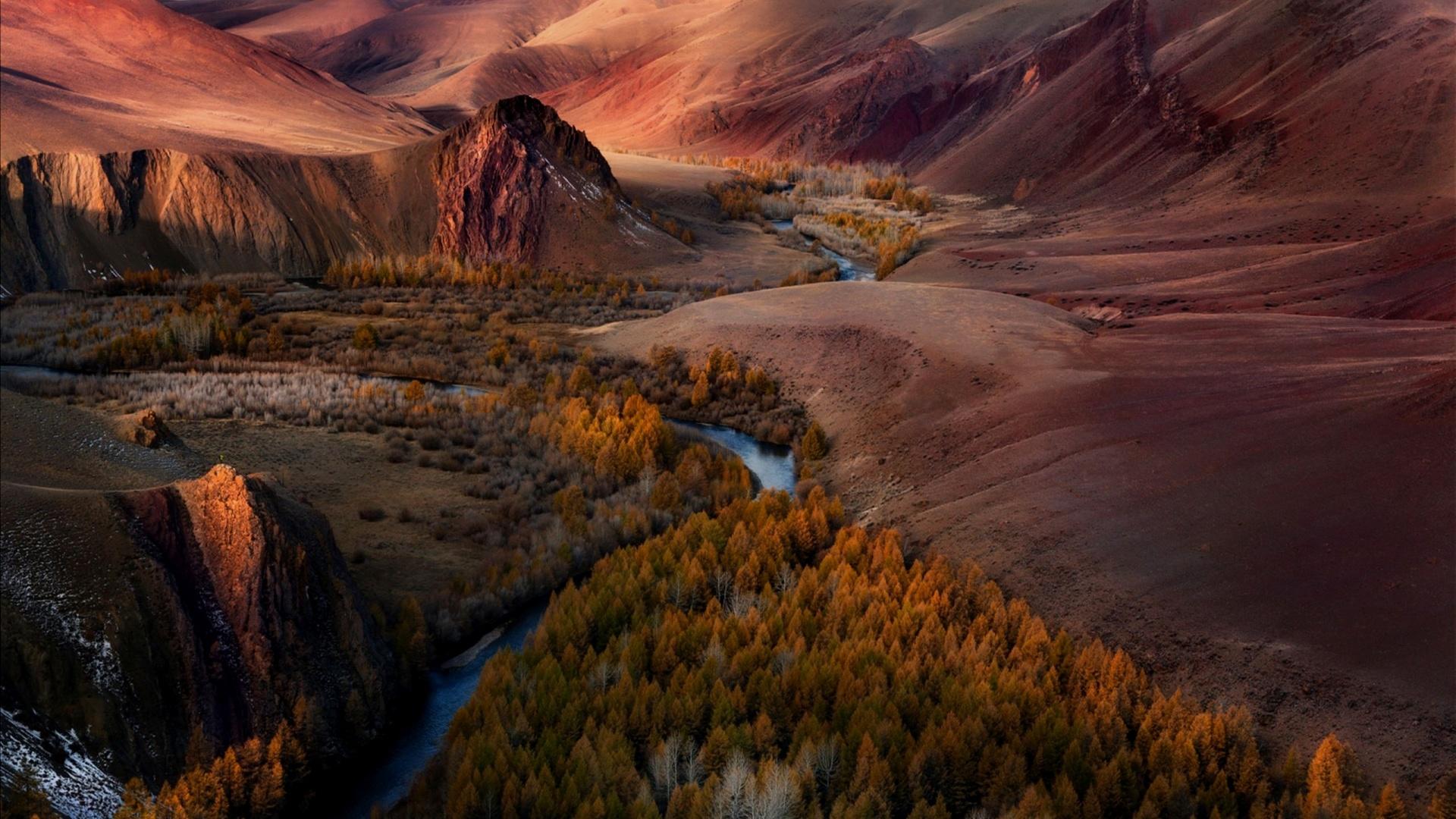 вид на долину с речкой среди гор, урочище кокоря, алтай, обои для рабочего стола