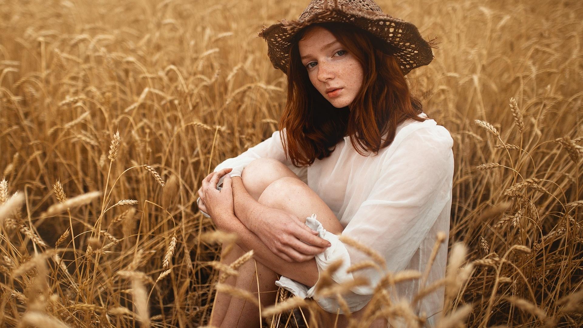девушка, поле, колосья, фото, сергей невзоров