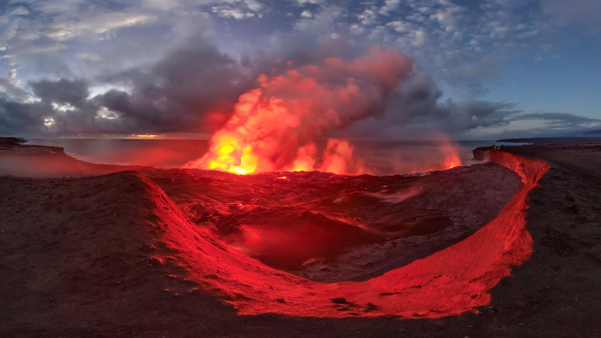вулканического рельефа, стратовулкан, атмосфера, купол лавы, панорама