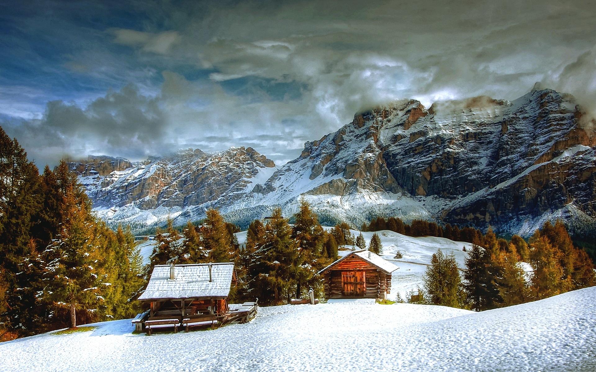 италия, природа, пейзаж, горы, доломиты, зима, снег, леса, дом, небо, облака