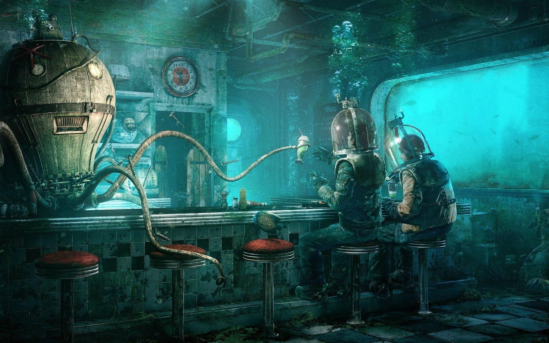 underwater restaurant, sci-fi, post-apocalyptic, sci-fi
