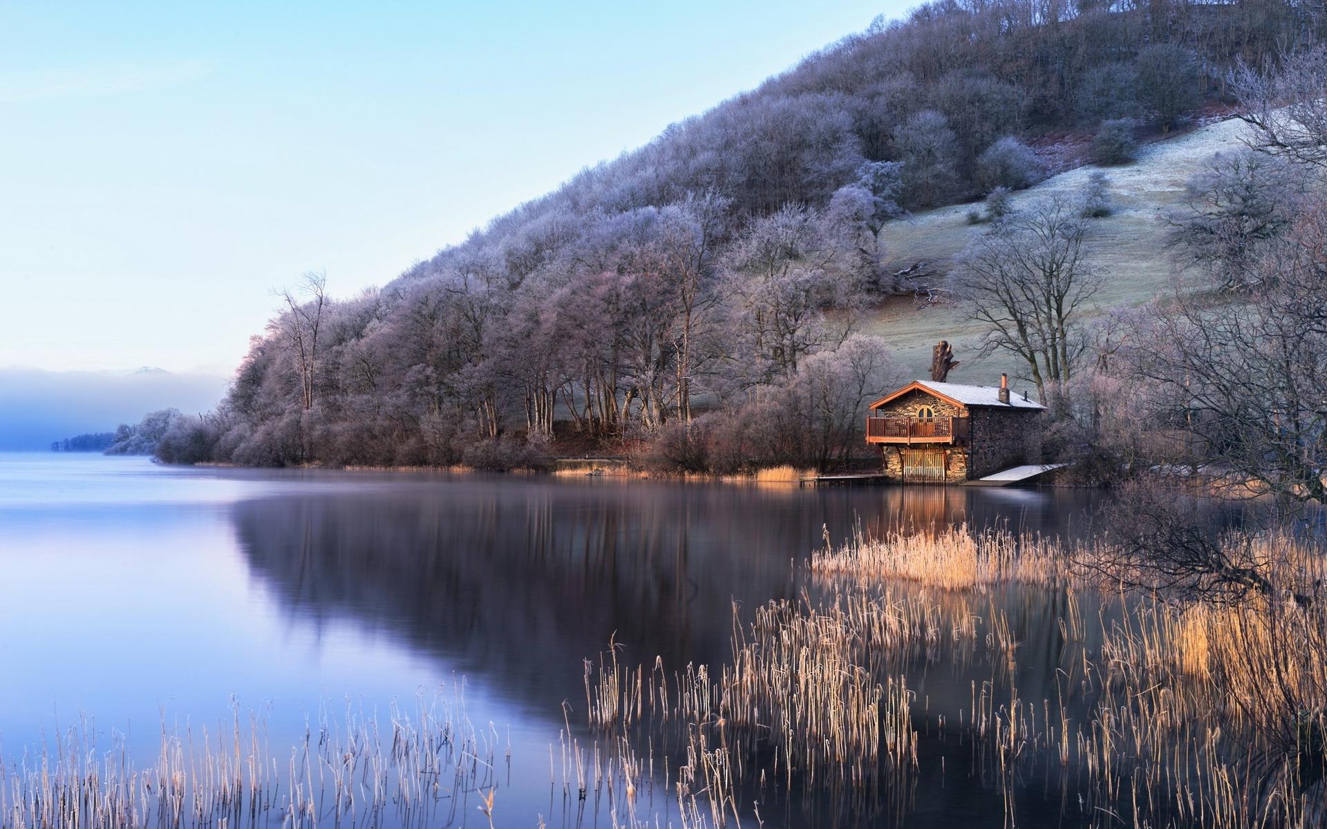 англия, природа, пейзаж, река, холм, деревья, трава, дом