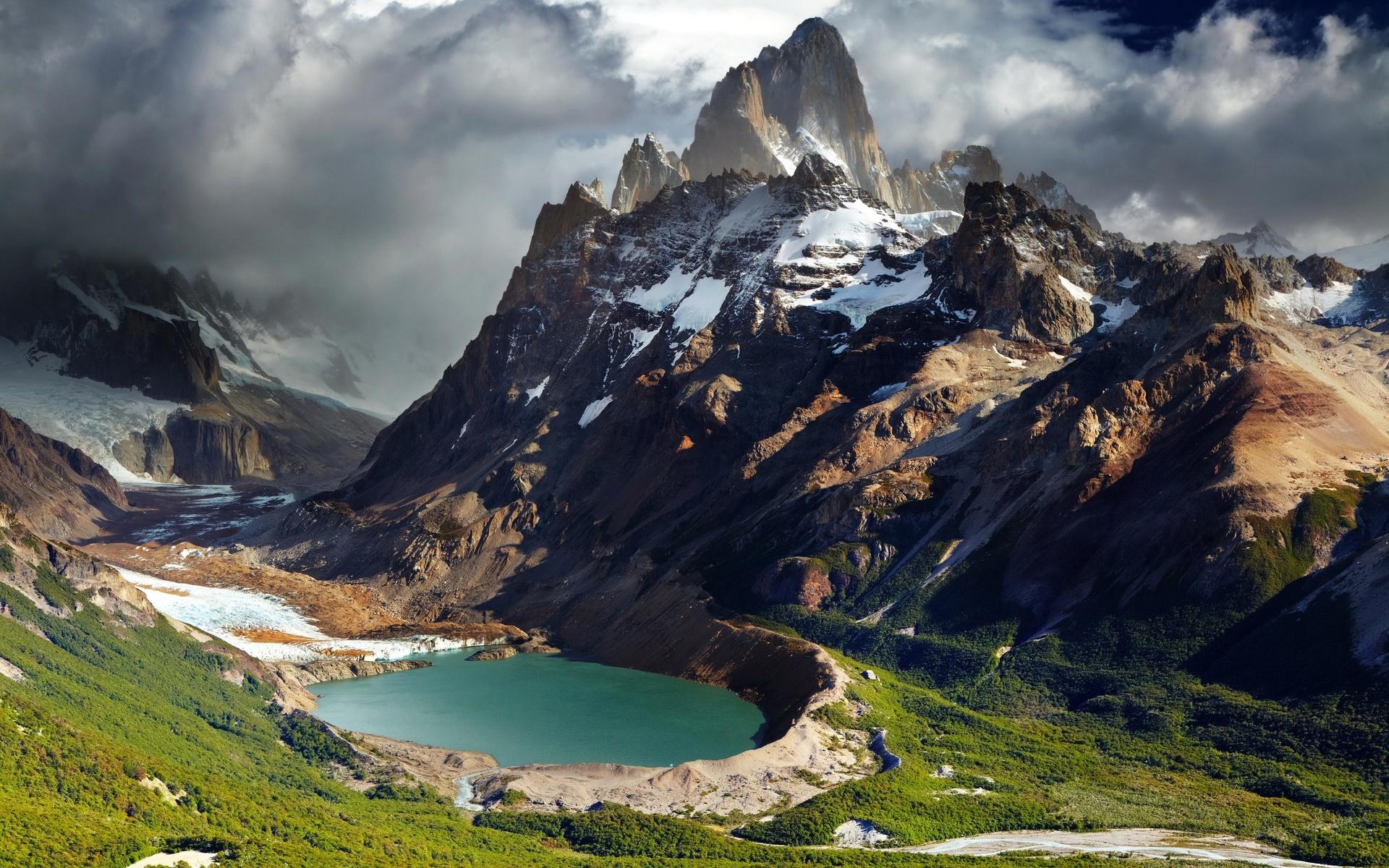 national park, patagonia, chile, горы, снег, облака, озеро, зелень, природа, пейзаж