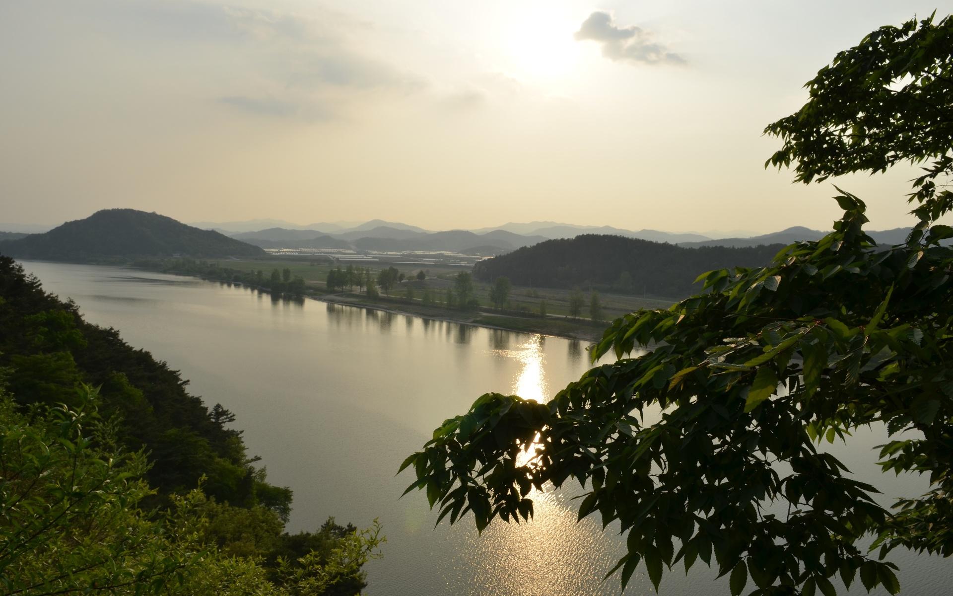 река, холмы, деревья, вечер, южная корея