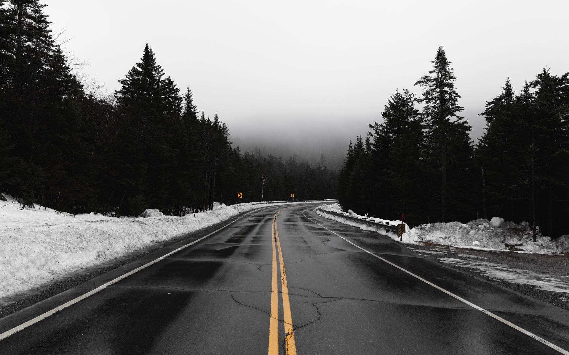 дорога, туман, поворот, снег, пасмурно