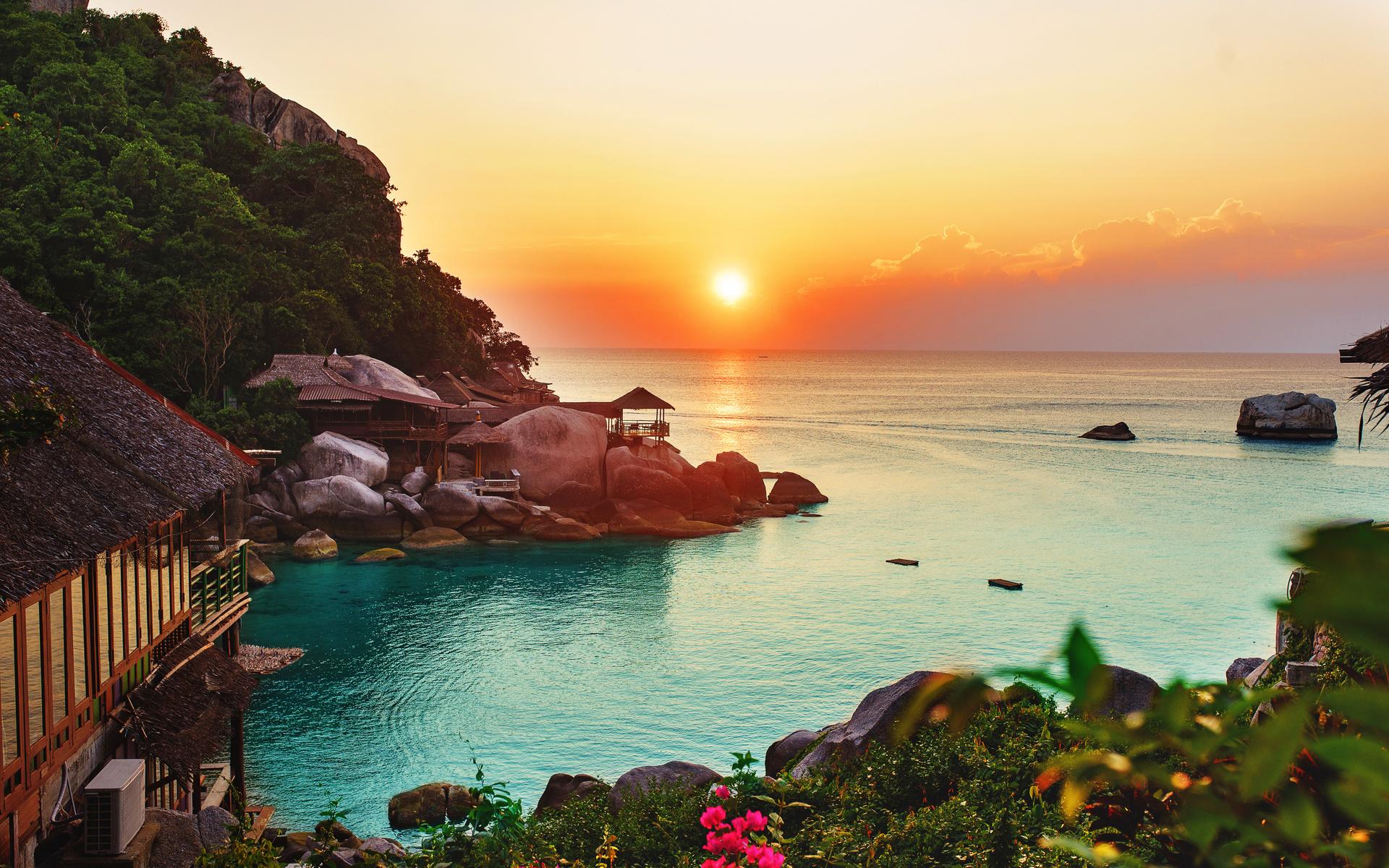 океан, горизонт, закат, пляж, растительность