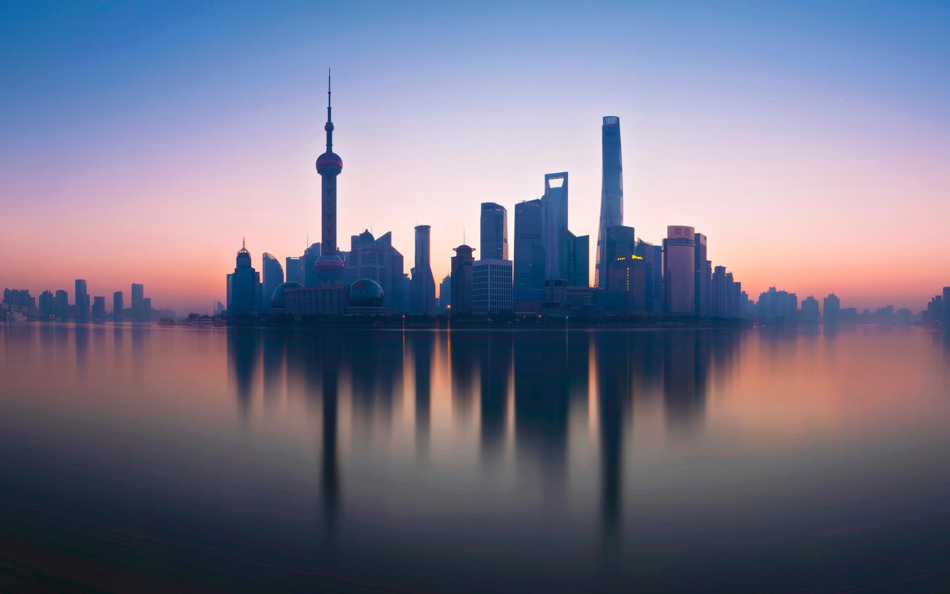 шанхай, утро, городские пейзажи, река хуанпу, небоскребы, телебашня