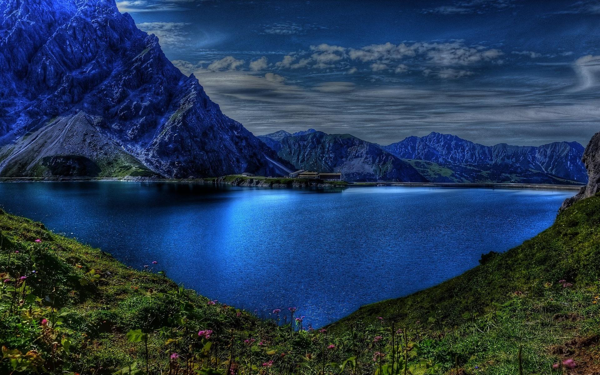 andscape, lake, mountains, природа, пейзаж, горы, озеро, сумерки