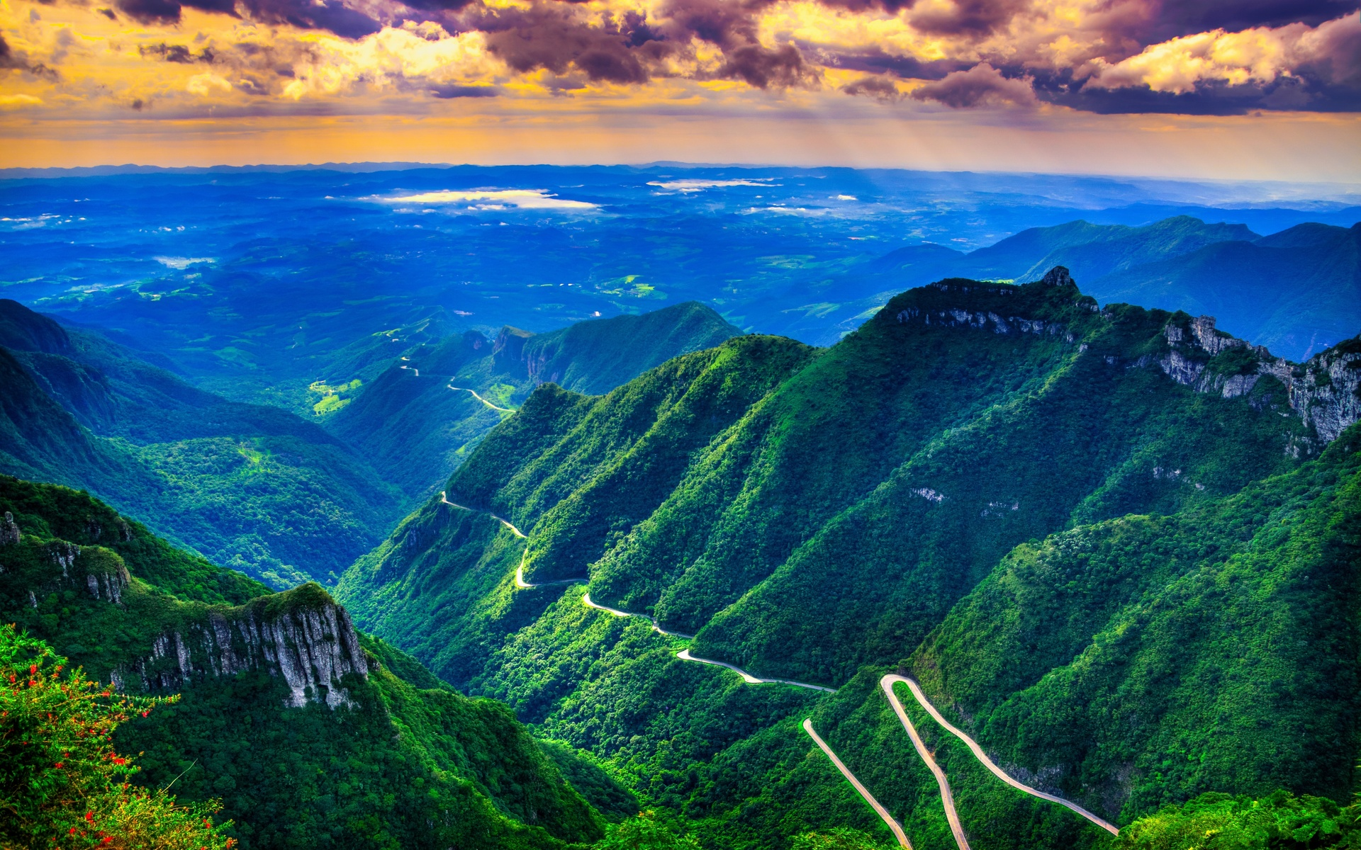 серра-ду-риу-ду-растро в санта-катарина, бразилия, горы, дорога, тропа, природа, пейзаж