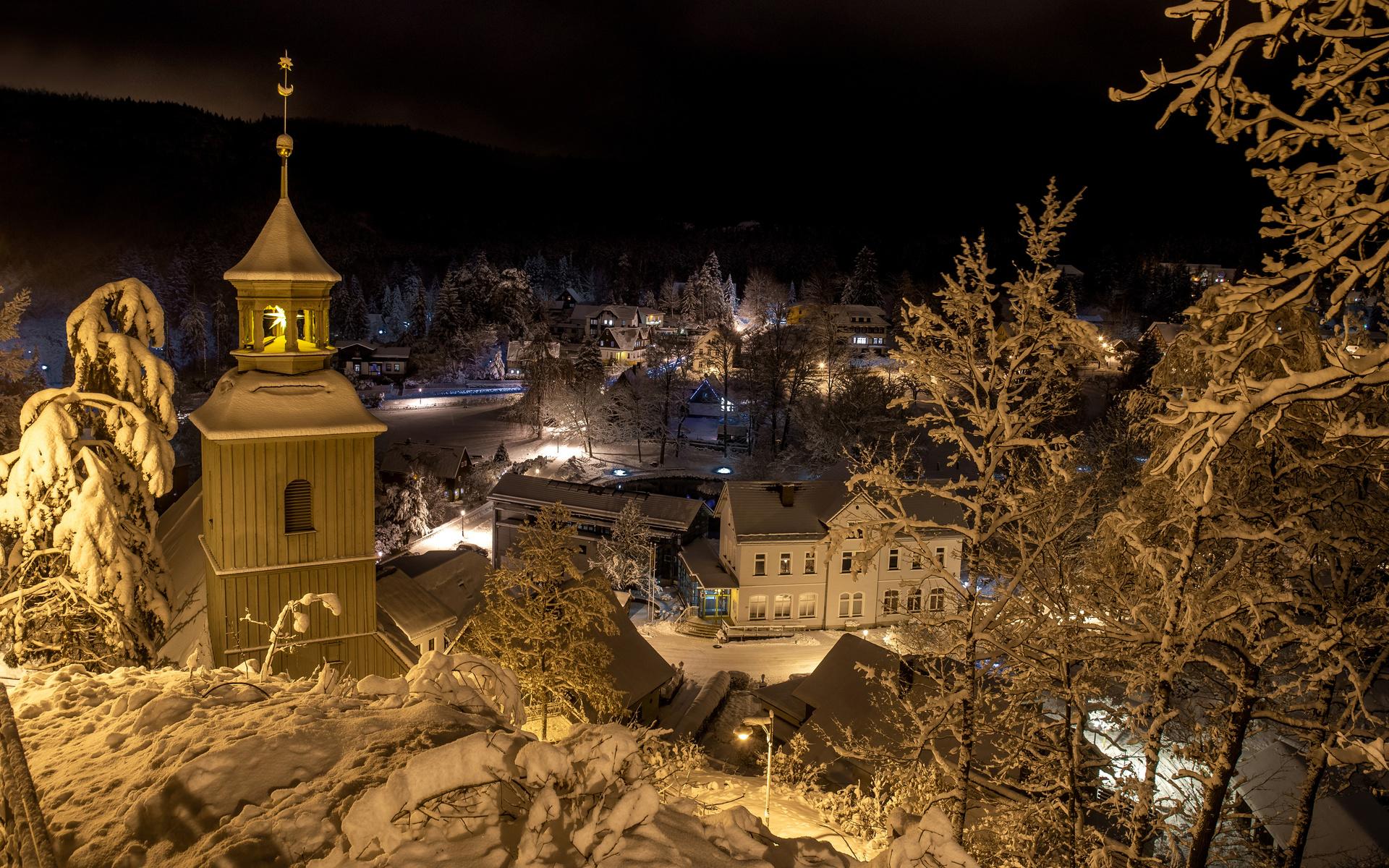 германия, зима, дома, ночь, oybin, город