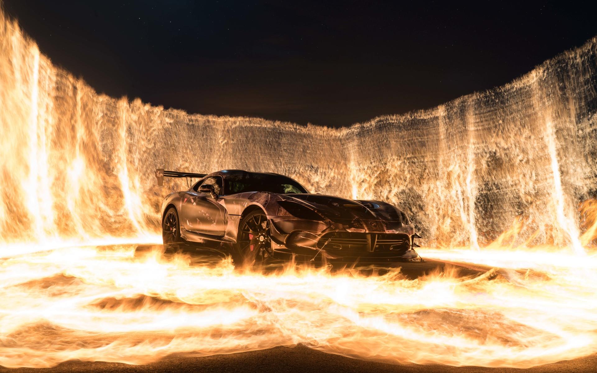 sports car, fire