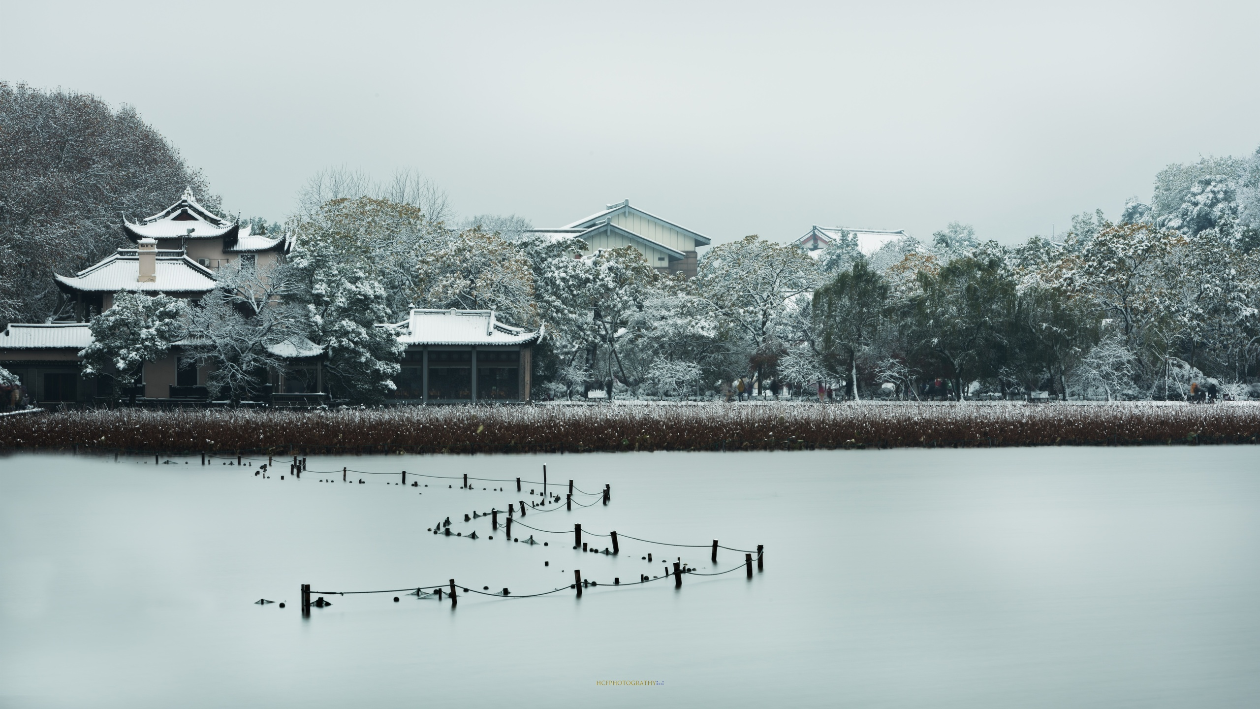 pinghu qiuyue, дома, деревья, снег, зима, западное озеро, ханчжоу, китай