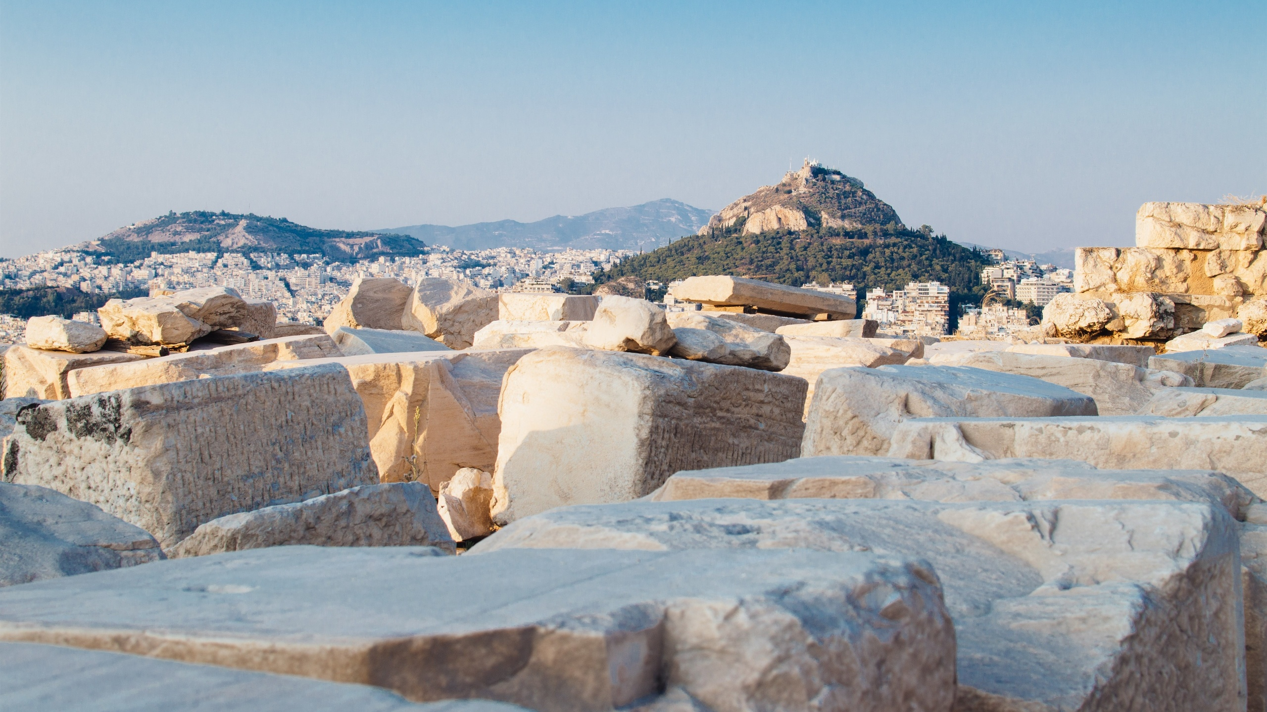 греция, гора ликабет, город, скалы