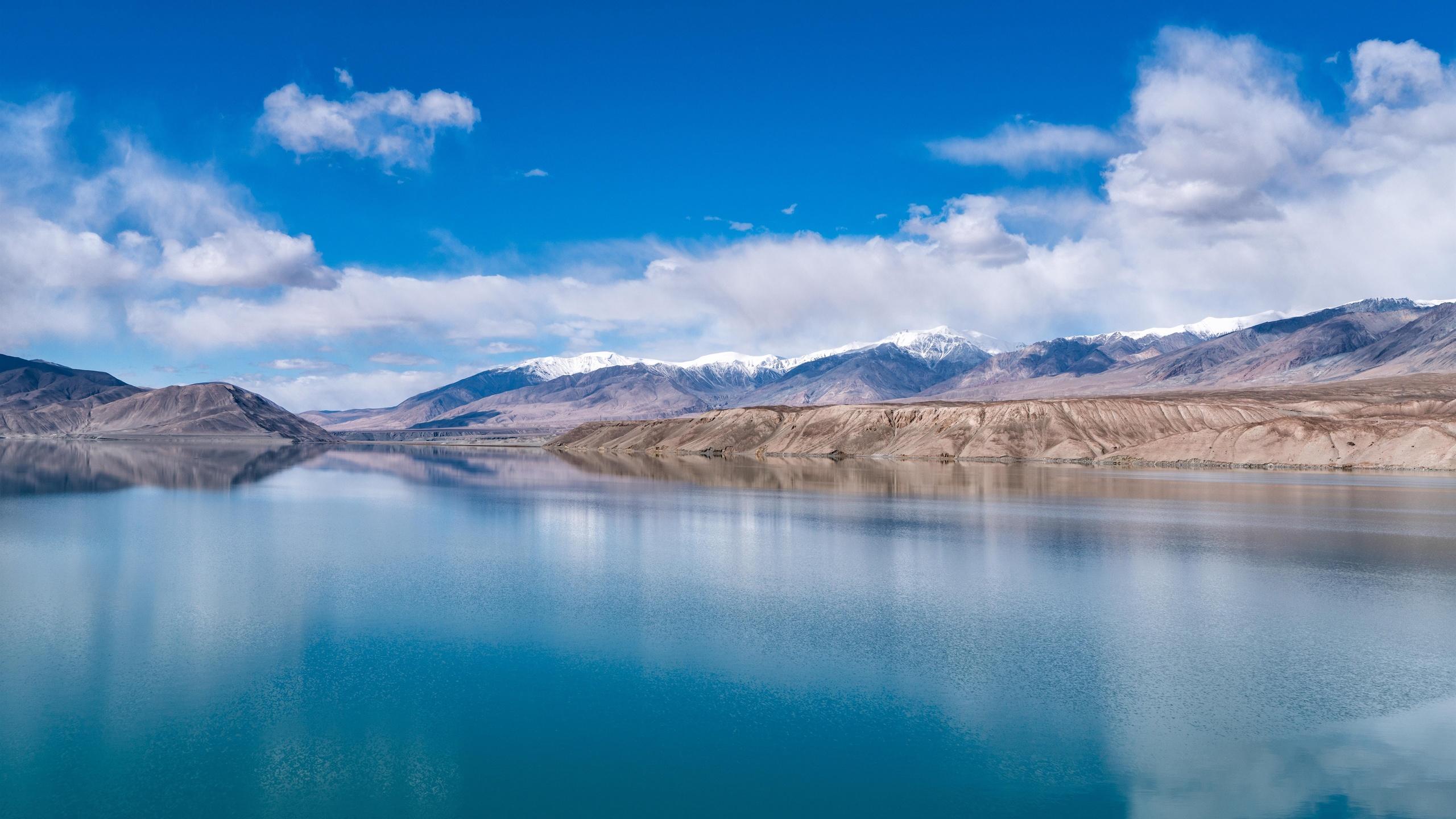 байша, озеро, синьцзян, горы, облачность, китай, природа