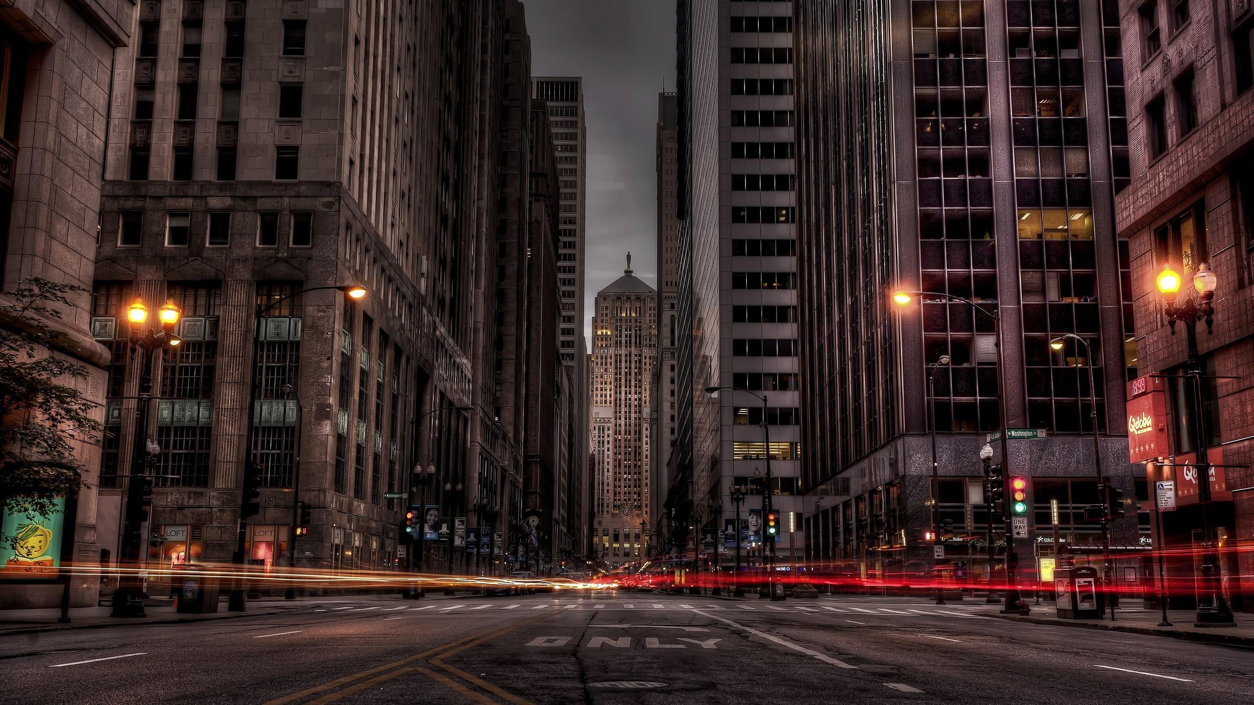 Чикаго, иллинойс, огни, дорога, здания, ночь, город