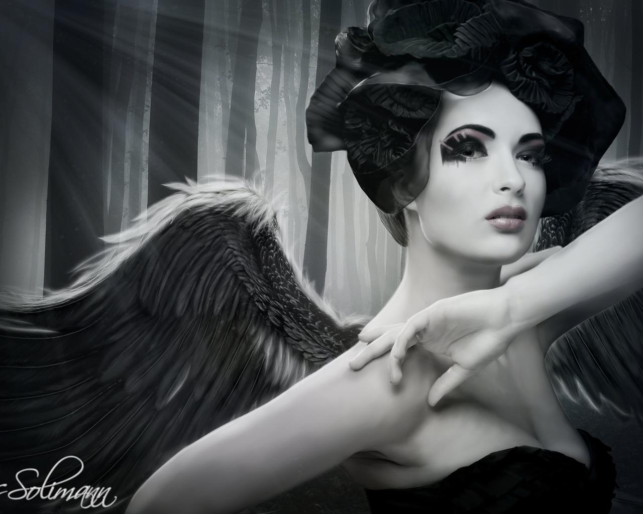 взгляд, девушка, деревья, лицо, ангел, макияж, руки. крылья, ретро