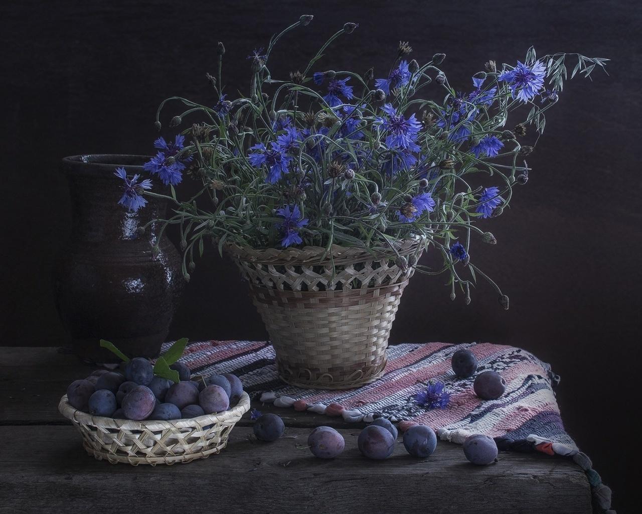 сливы, синие, васильки