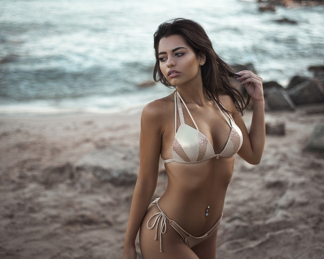 women, brunette, sea, belly, bikini, sand, pierced navel, looking away, women outdoors, ribs, marianna bafiti, dimitris konstantinidis