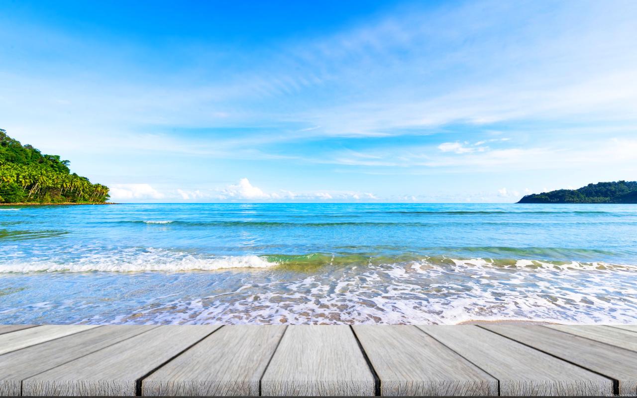 океан, небо, берег