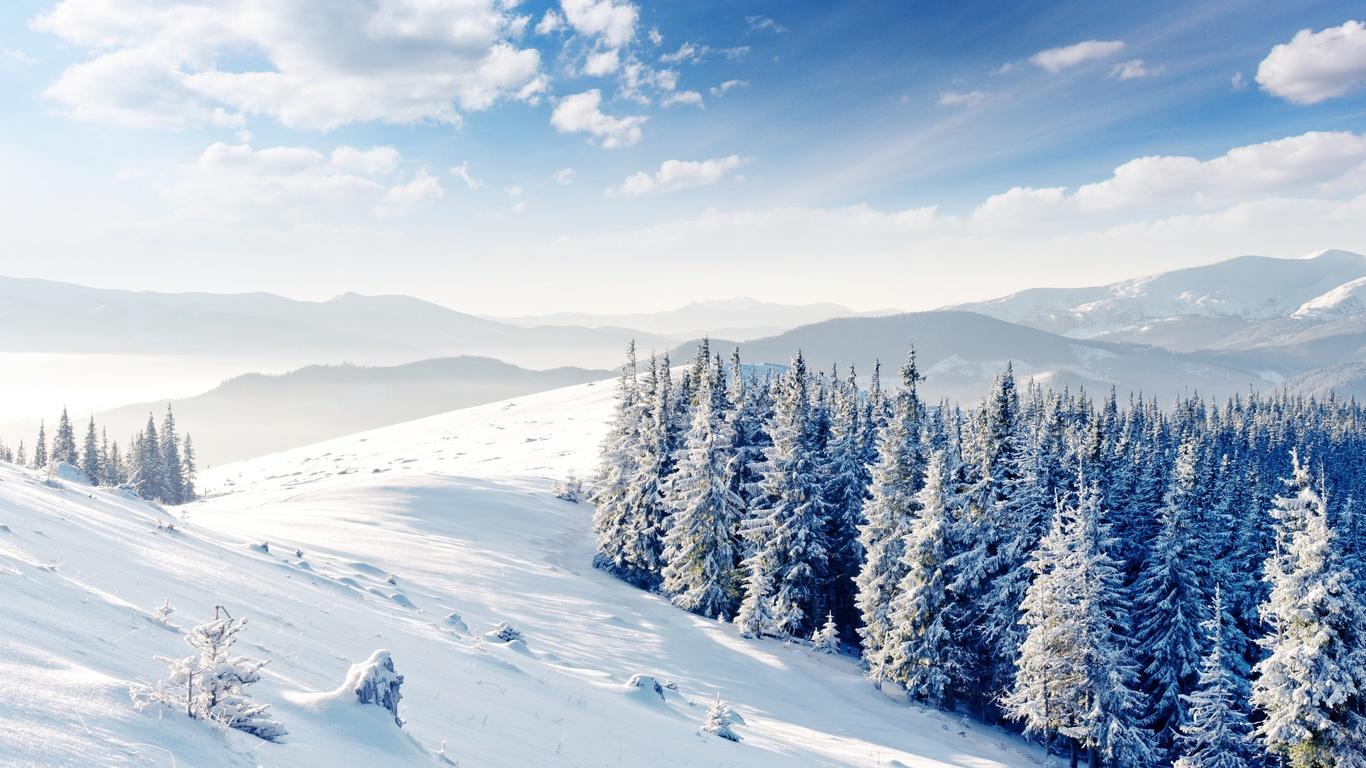 снег, деревья, зима, холмы, облака