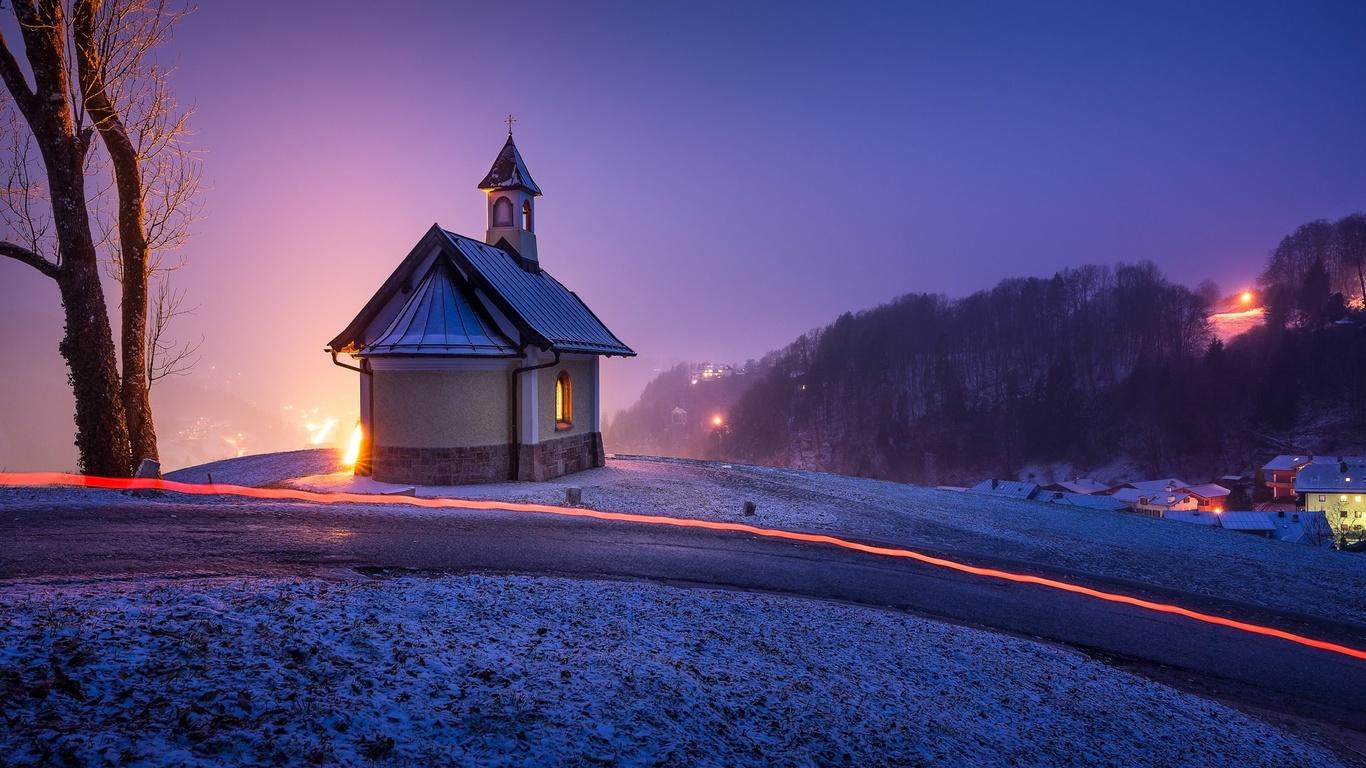 пейзаж, зима, деревья, ночь, германия, бавария, холм, деревня, дома, часовня, освещение, берхтесгаден