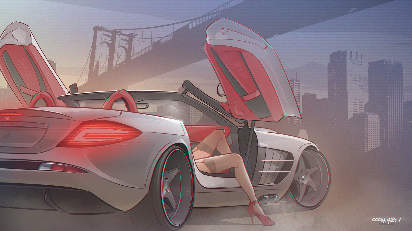 Картинки рисованные девушки машины