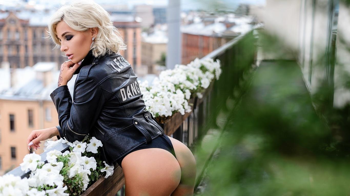 women, black swimsuit, leather jackets, brunette, blonde, balcony, portrait, ass, pink lipstick, flowers, window, closed eyes, кожанка