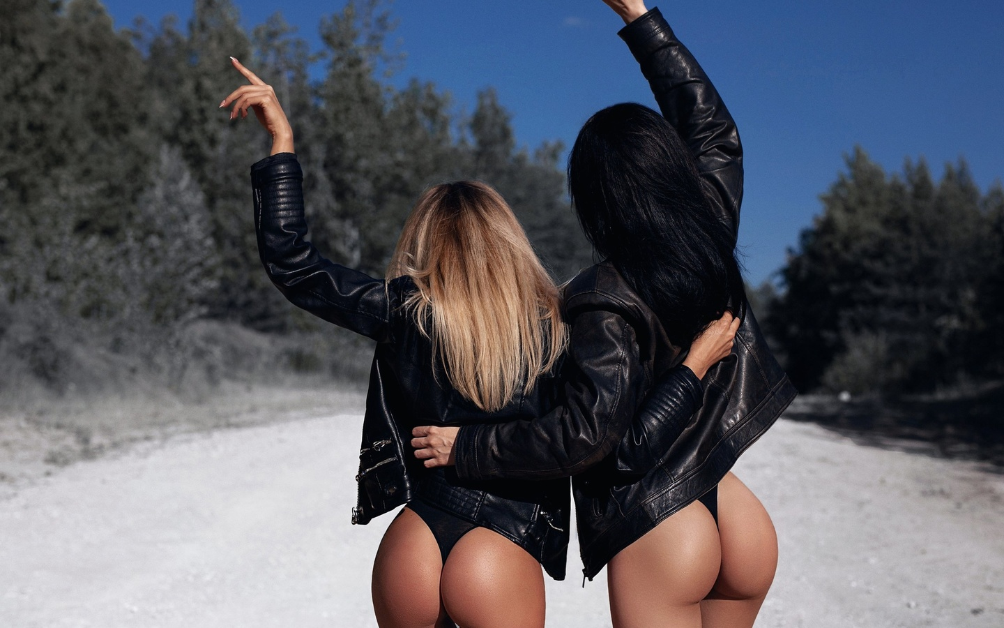 women, leather jackets, ass, road, back, blonde, the gap, black panties, women outdoors, black hair, two women