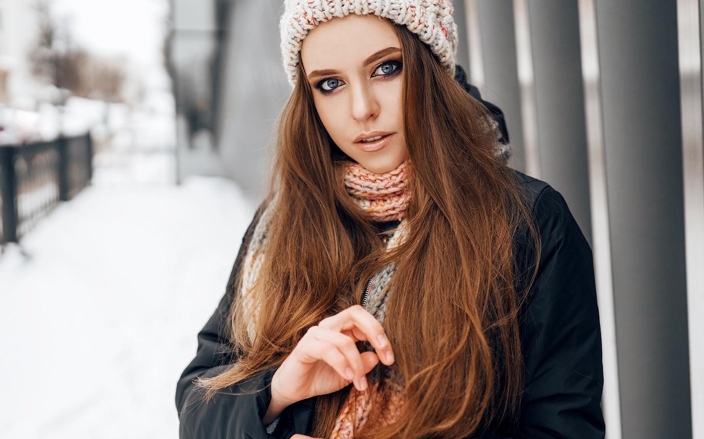women, portrait, winter, scarf, coats, women outdoors, snow, blue eyes, long hair