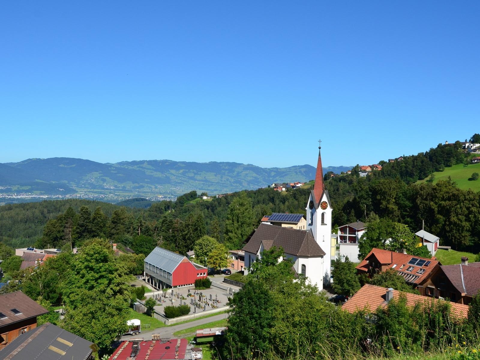 деревня, холмы, церковь