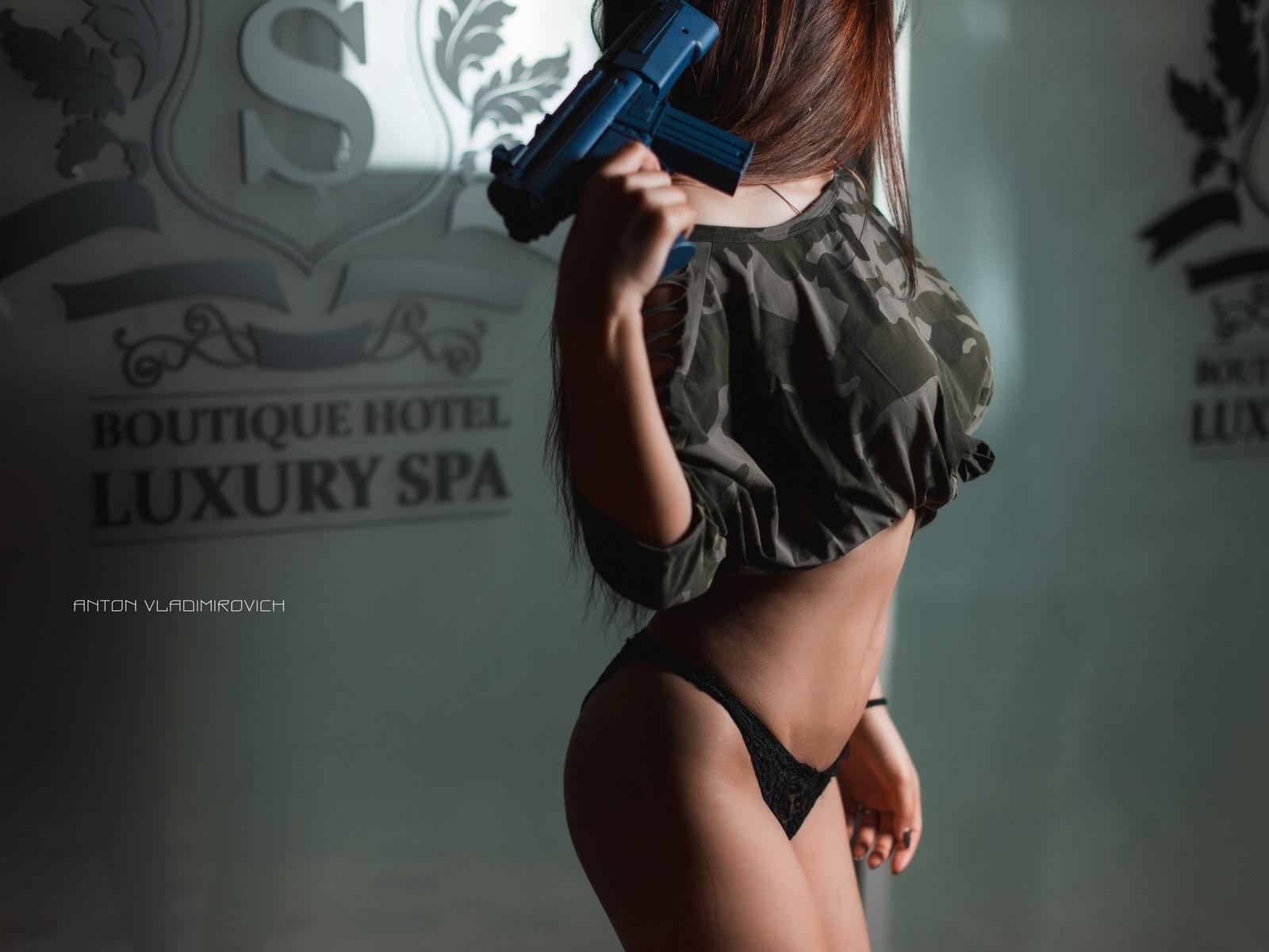 women, brunette, belly, anton vladimirovich, gun, crop top, ass, black panties