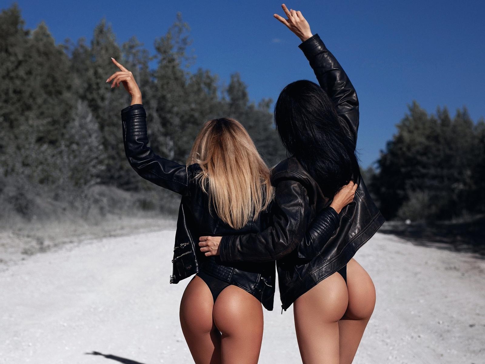 women, leather jackets, ass, road, back, blonde, the gap, black panties, women outdoors, black hair, two women