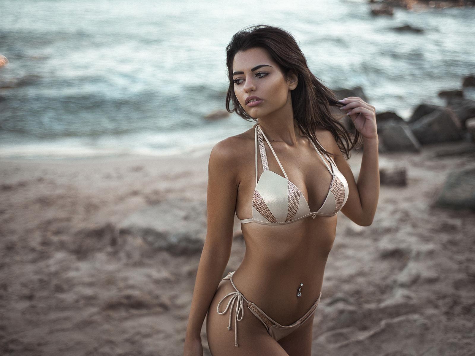 women, brunette, sea, belly, bikini, sand, pierced navel, looking away, women outdoors, ribs, marianna bafiti, dimitris konstantinidis