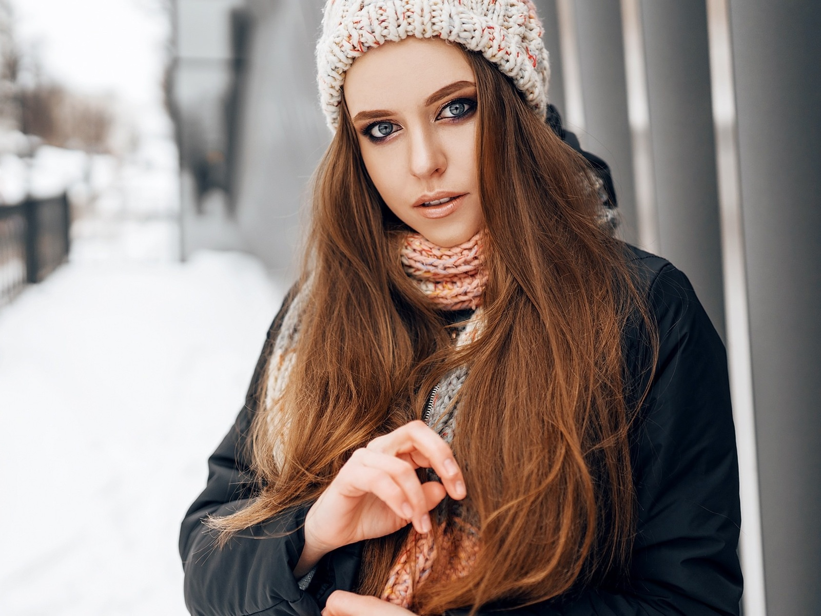 women, portrait, winter, scarf, coats, women outdoors, snow, blue eyes, long hair