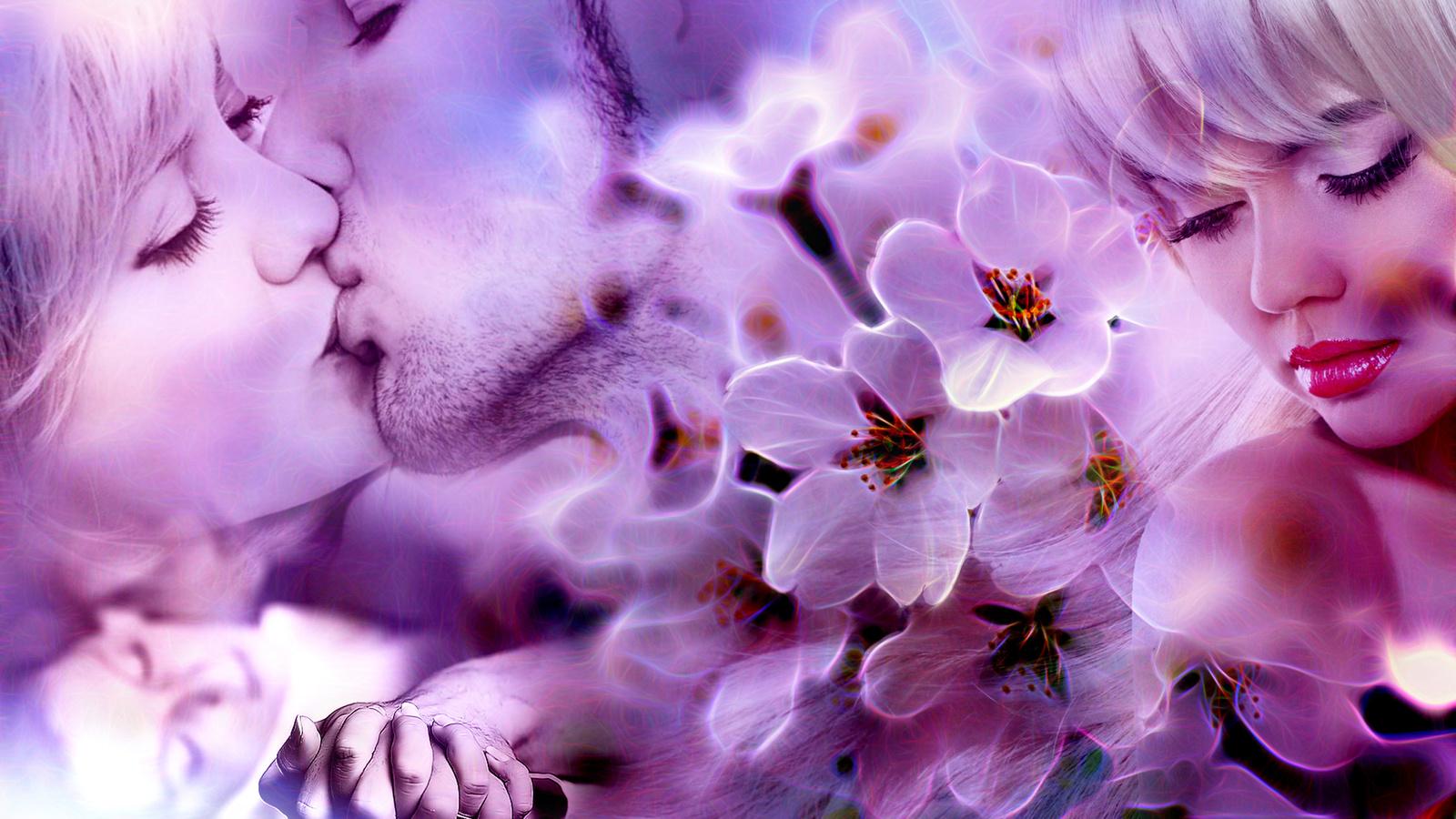 девушка, парень, любовь, воспоминания, весна, поцелуй, нежность, счастье, влюблённые, цветы,, взаимность, коллаж
