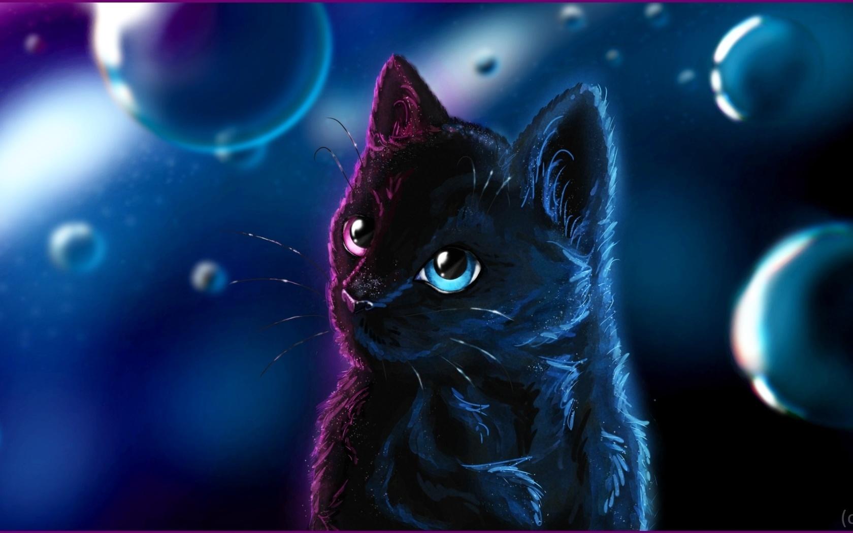 голубоглазый черный кот на фоне пузырей, by seogetie обои для рабочего стола